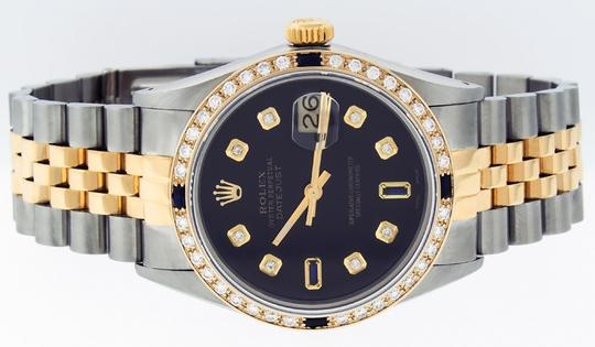 Rolex Mens Datejust Ss/Yellow Gold with Black Diamond Dial Watch Image 8