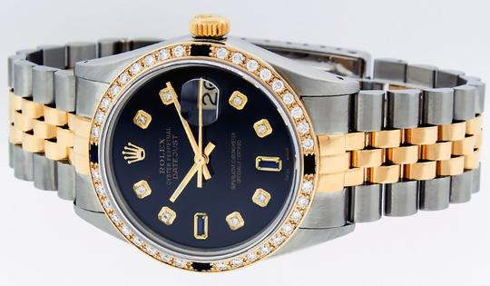 Rolex Mens Datejust Ss/Yellow Gold with Black Diamond Dial Watch Image 9