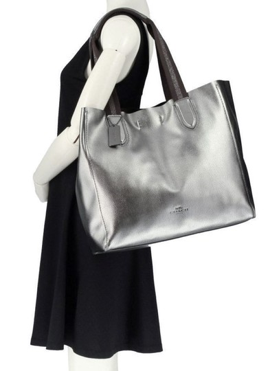 Coach Pebbled Leather Hardware F59388 Tote in Metallic Silver Image 1