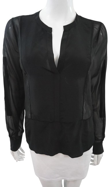 BCBGMAXAZRIA Silk Sheer Top Black Image 0