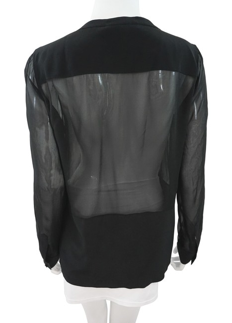 BCBGMAXAZRIA Silk Sheer Top Black Image 1
