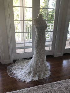 Allure Bridals White Lace Over Cafe/Silver Slip 8800 Never Worn Feminine Wedding Dress Size 4 (S)
