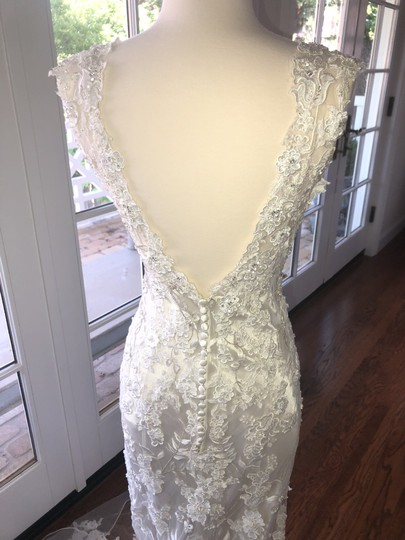 Allure Bridals White Lace Over Cafe/Silver Slip 8800 Never Worn Feminine Wedding Dress Size 4 (S) Image 1