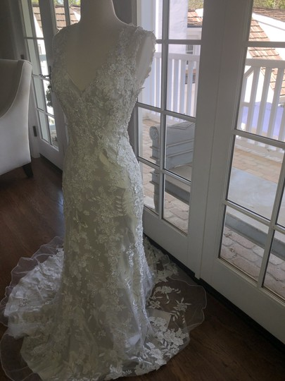 Allure Bridals White Lace Over Cafe/Silver Slip 8800 Never Worn Feminine Wedding Dress Size 4 (S) Image 2