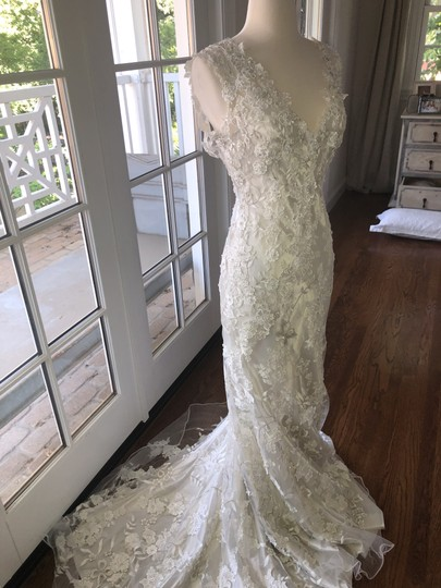 Allure Bridals White Lace Over Cafe/Silver Slip 8800 Never Worn Feminine Wedding Dress Size 4 (S) Image 3