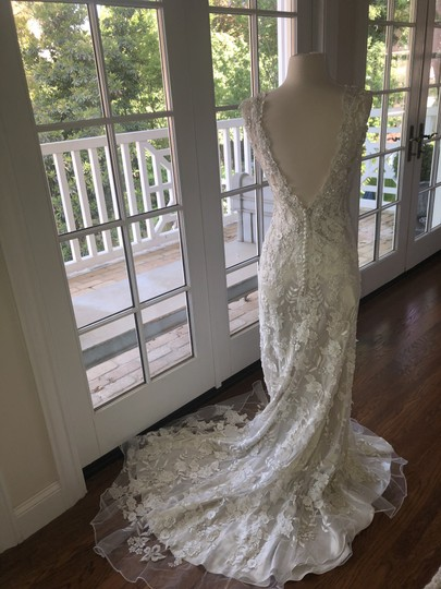 Allure Bridals White Lace Over Cafe/Silver Slip 8800 Never Worn Feminine Wedding Dress Size 4 (S) Image 4