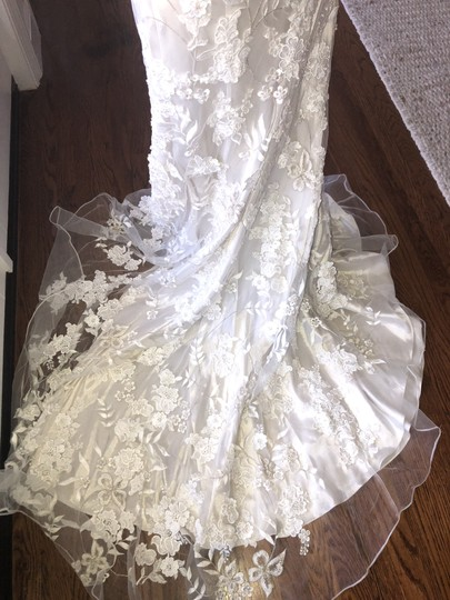 Allure Bridals White Lace Over Cafe/Silver Slip 8800 Never Worn Feminine Wedding Dress Size 4 (S) Image 5