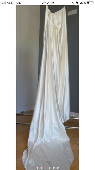 Ines Di Santo Cream/Ivory Silk Two Piece Gown Destination Wedding Dress Size 8 (M) Image 1