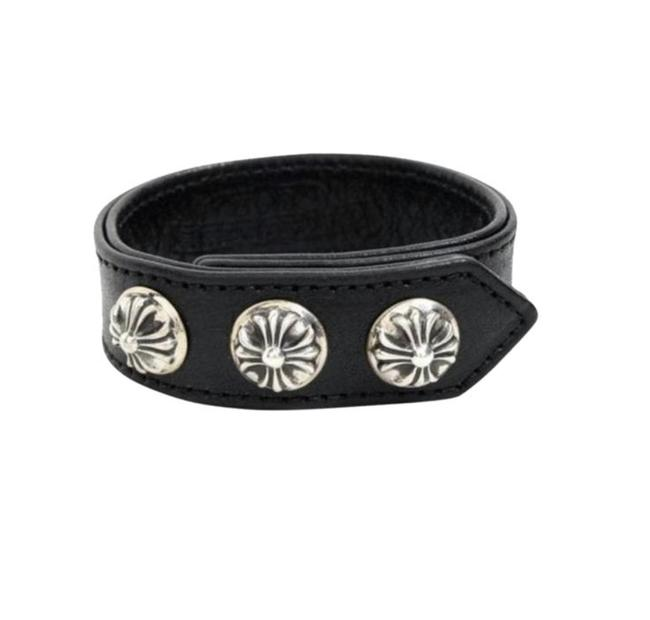 Chrome Hearts Black/Silver Ch Plus Leather One Size Bracelet Chrome Hearts Black/Silver Ch Plus Leather One Size Bracelet Image 1