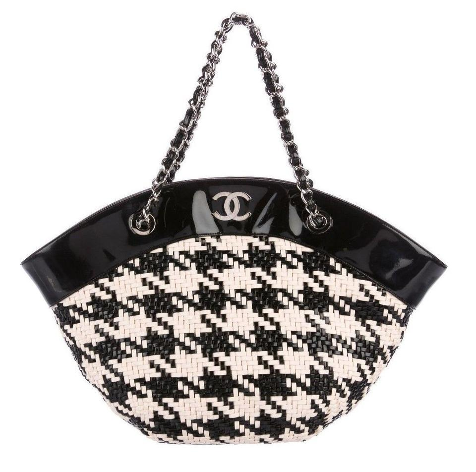 507fe7208d5a Chanel Houndstooth Patent Cc Purse Rare Black Cream Leather Tote ...