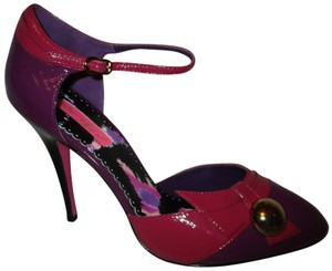Betsey Johnson Patent Leather Ankle Strap Stiletto Onm 007 pink & purple Pumps