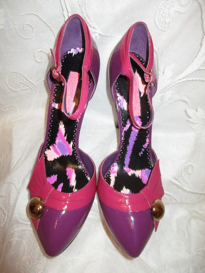 Betsey Johnson Patent Leather Ankle Strap Stiletto Onm 007 pink & purple Pumps Image 4