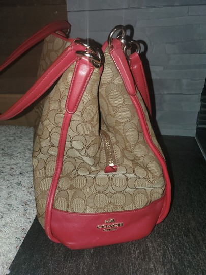 Coach Tote in Red and tan Image 5