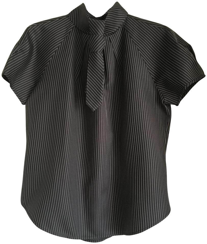 8440a1d0176 Charles Nolan Black with White Pinstripe Removable Tie Blouse Size 12 (L)  84% off retail