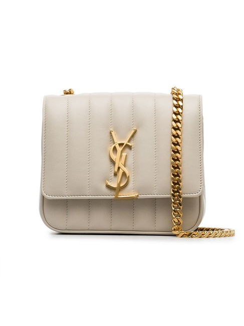 Item - Vicky Small Cream White Lambskin Leather Shoulder Bag