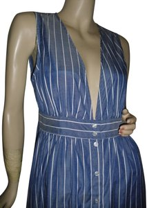 denim blue, white stripes Maxi Dress by Urban Outfitters Color Low Cut Front Long Maxi