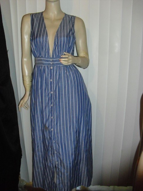 denim blue, white stripes Maxi Dress by Urban Outfitters Color Low Cut Front Long Maxi Image 1