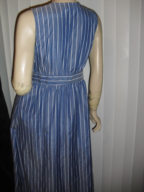 denim blue, white stripes Maxi Dress by Urban Outfitters Color Low Cut Front Long Maxi Image 3