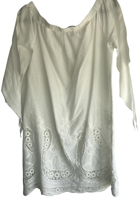 Blue Island White Lace Off The Shoulder Cover-up/Sarong Size OS (one size) Blue Island White Lace Off The Shoulder Cover-up/Sarong Size OS (one size) Image 1