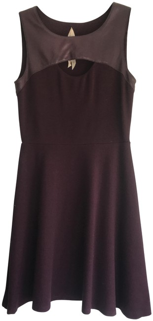 Preload https://img-static.tradesy.com/item/25345580/bailey-44-plumwine-plumwine-with-leather-and-cut-out-short-formal-dress-size-2-xs-0-1-650-650.jpg