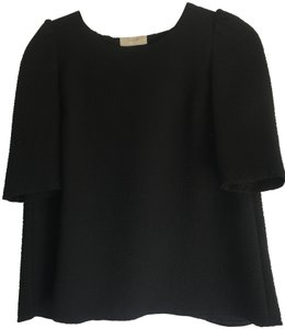 ba&sh Textured Puff Swing Open French Top Black