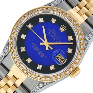 Rolex Mens Datejust Ss/Yellow Gold with Diamond Dial Watch