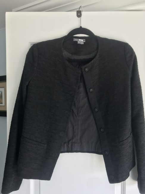Vince Textured Crew Neck Snap Button Swing Padded Black Blazer Image 1