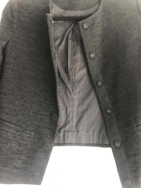Vince Textured Crew Neck Snap Button Swing Padded Black Blazer Image 3