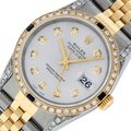 Rolex Mens Datejust Ss/Yellow Gold with Silver Diamond Dial Watch Image 0