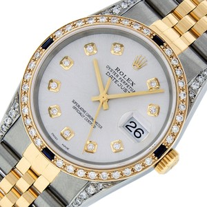 Rolex Mens Datejust Ss/Yellow Gold with Silver Diamond Dial Watch