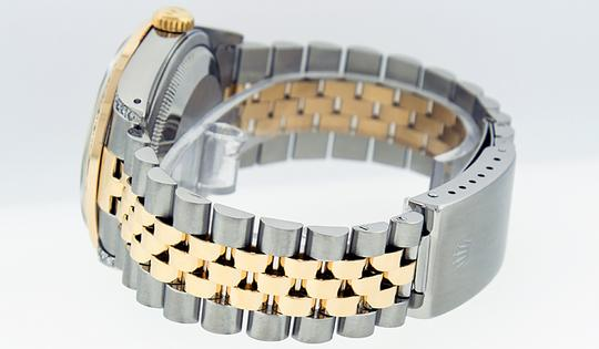 Rolex Mens Datejust Ss/Yellow Gold with Silver Diamond Dial Watch Image 1
