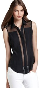 Parker Sheer Cut-out Collar Button Down Panel Top Black