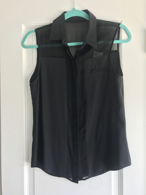 Parker Sheer Cut-out Collar Button Down Panel Top Black Image 1