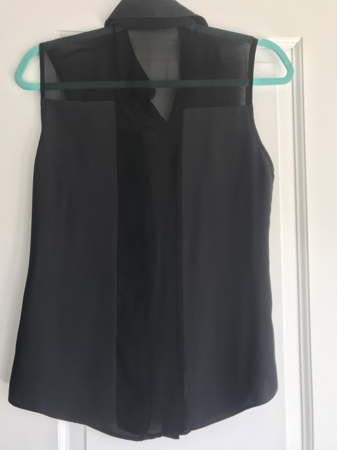 Parker Sheer Cut-out Collar Button Down Panel Top Black Image 2