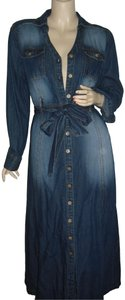 faded denim Maxi Dress by Metro Style Blue Jeans Washed Out Shirtdress Fading Blue Midi
