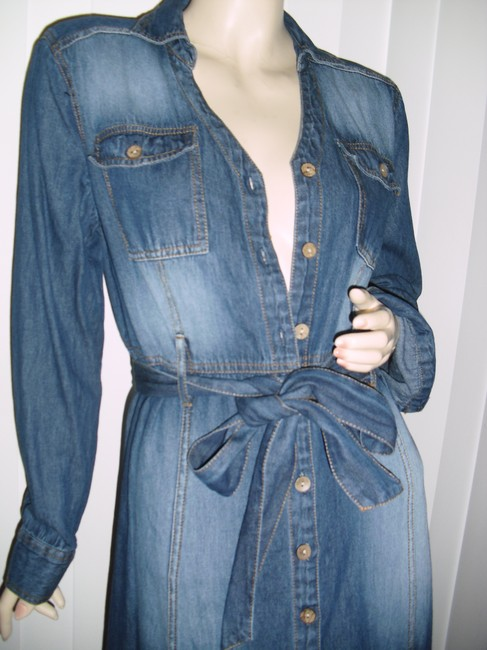 faded denim Maxi Dress by Metro Style Blue Jeans Washed Out Shirtdress Fading Blue Midi Image 1