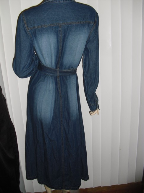 faded denim Maxi Dress by Metro Style Blue Jeans Washed Out Shirtdress Fading Blue Midi Image 3