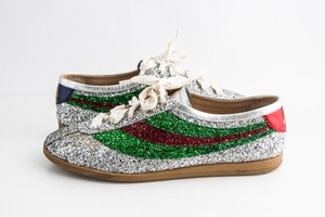 Gucci Silver Glitter Fabric Web Falacer Sneakers Shoes