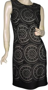 White House | Black Market See Thru Design Laser Circles With Holes Tapered Style Diamond Cut Dress