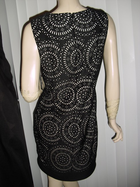 White House | Black Market See Thru Design Laser Circles With Holes Tapered Style Diamond Cut Dress Image 4