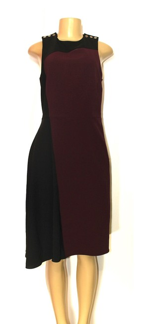 Preload https://img-static.tradesy.com/item/25345920/parker-black-and-burgundy-fit-flare-small-mid-length-cocktail-dress-size-4-s-0-0-650-650.jpg