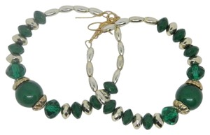 Other Green and gold Bead Hoop Earrings