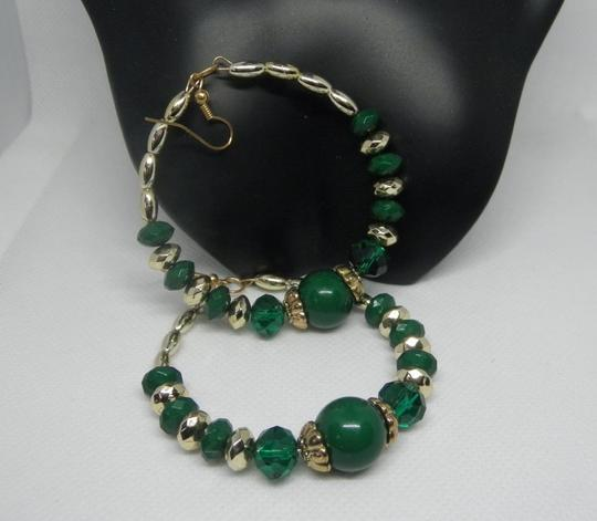 Other Green and gold Bead Hoop Earrings Image 1