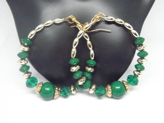 Other Green and gold Bead Hoop Earrings Image 2