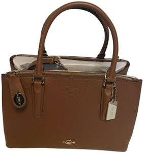 Coach Oxblood Brooklyn Satchel in saddle brown