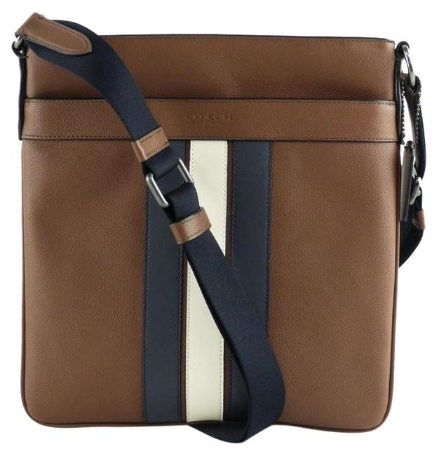 Item - Crossbody Men Three Strips Ipad Tablet Map Brown Leather Messenger Bag
