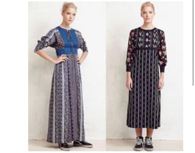 blue brown white Maxi Dress by Warm Image 1
