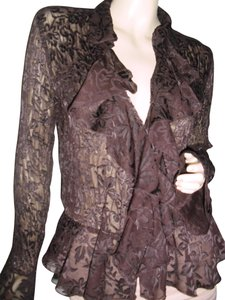 Allison Taylor Pleated Pleated Lace Lace See Through Lace Shapely Pleats Button Down Shirt chocolate brown