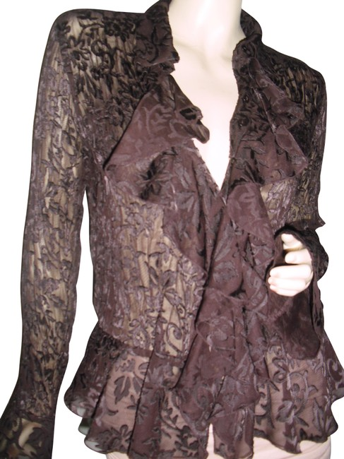 Item - Chocolate Brown Lace Pleated Crinckled See Thru Ruffles Button-down Top Size 12 (L)