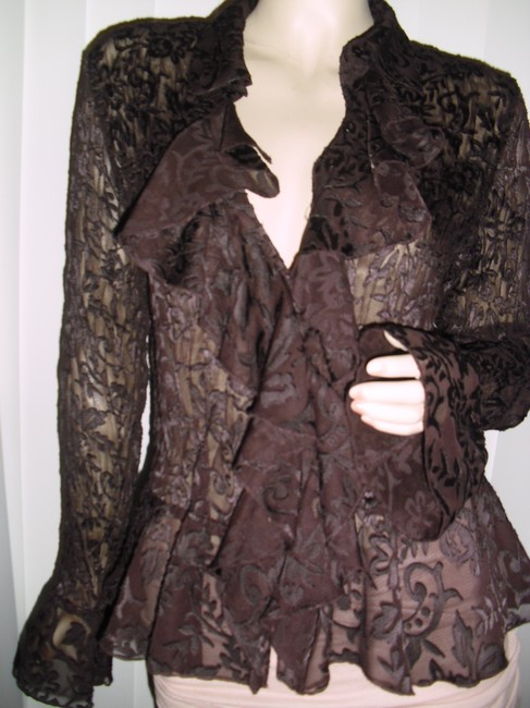 Allison Taylor Pleated Pleated Lace Lace See Through Lace Shapely Pleats Button Down Shirt chocolate brown Image 1